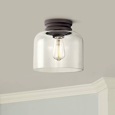 "Feiss Hounslow 9"" High Bronze and Clear Glass Ceiling Light"