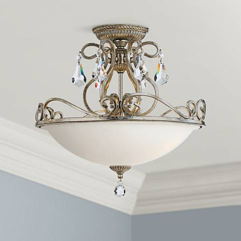 "Crystorama Ashton 16 1/2"" Wide Silver Ceiling Light"