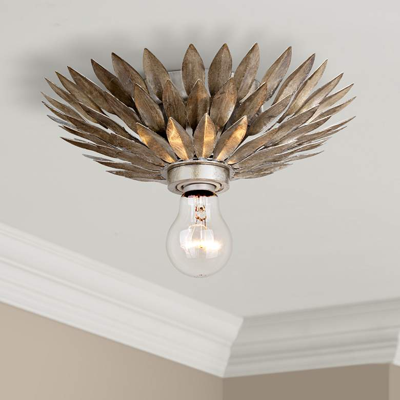 "Crystorama Broche 11"" Wide Silver Flushmount Ceiling Light"