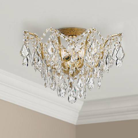 "Crystorama Filmore 19"" Wide Antique Gold Ceiling Light"