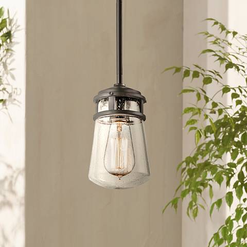 "Kichler Lyndon 9 1/2"" High Seedy Glass Outdoor Pendant"