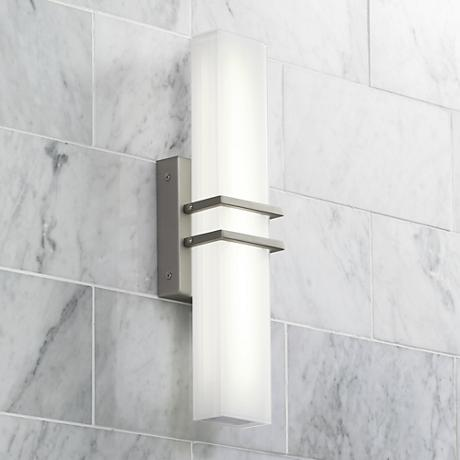 possini bathroom light fixtures possini exeter 17 quot wide led nickel bathroom light 20047