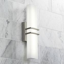 "Possini Euro Exeter 17"" High Nickel LED Bathroom Light"