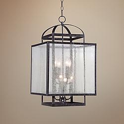 "Camden Square 15"" Wide Aged Charcoal Pedant Light"