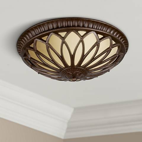 "Florida Bronze Leaves 18"" Wide Ceiling Light"