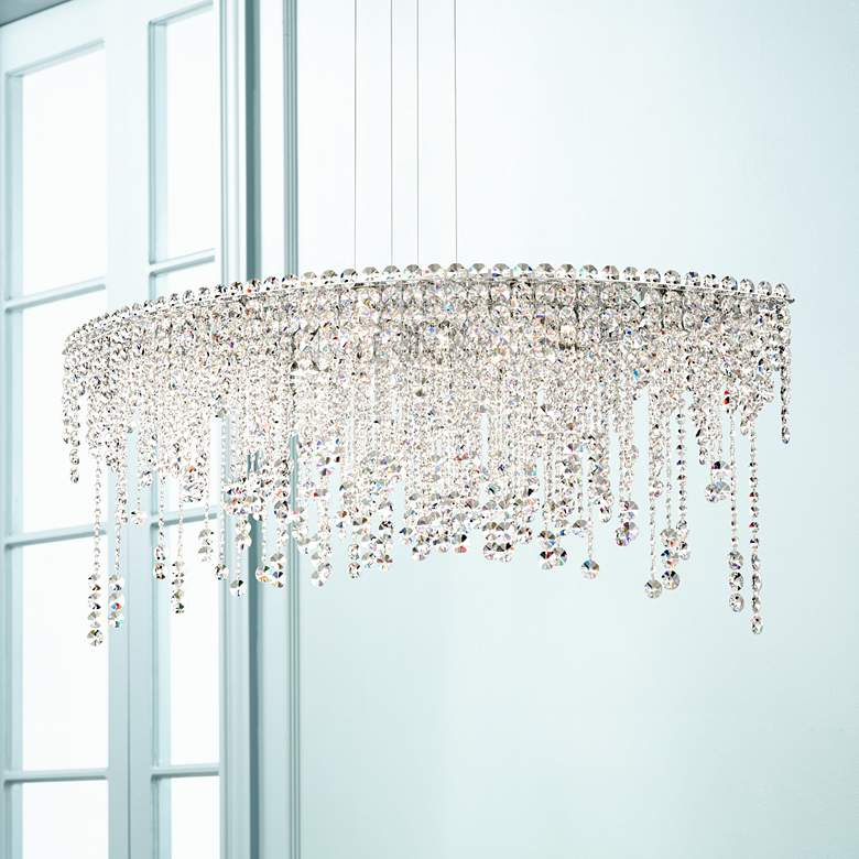 "Schonbek Chantant 43"" Wide Crystal Pendant Light"