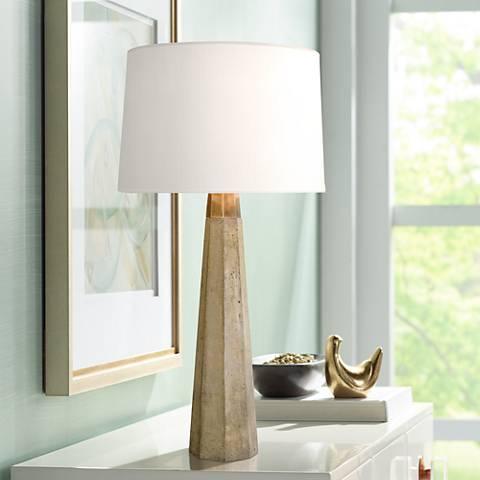 Regina Andrew Design Concrete and Brass Table Lamp