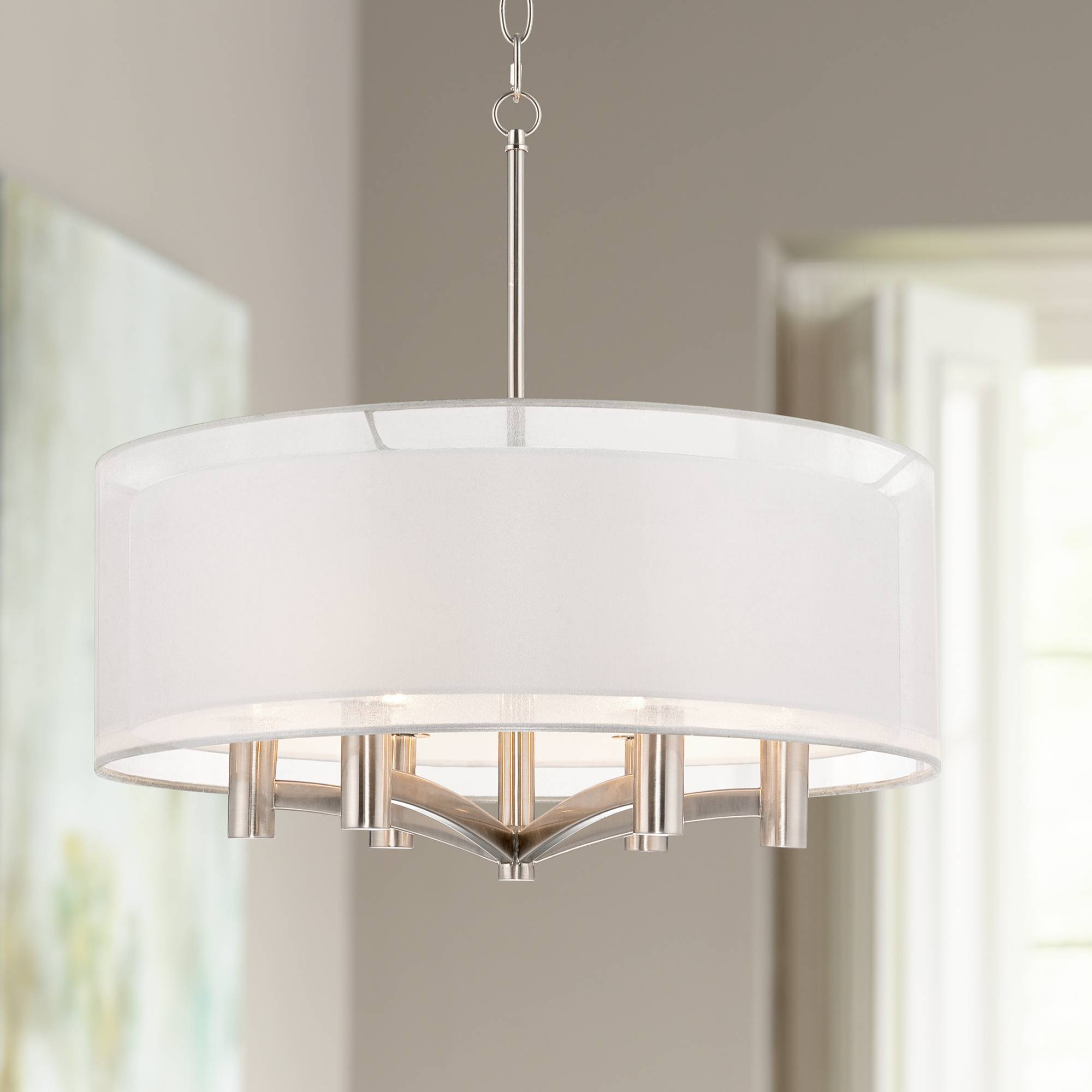 Caliari 6 light 22 wide brushed nickel pendant light