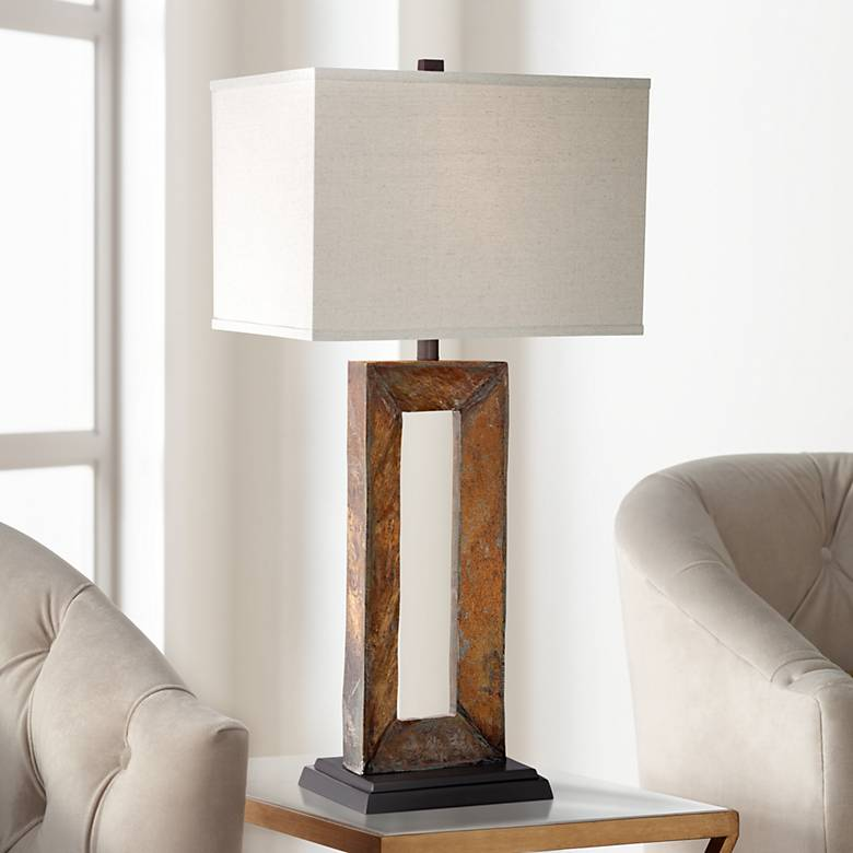 Tahoe Large Rectangular Slate Table Lamp