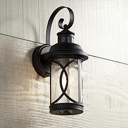 "Capistrano 12 3/4""H Black Motion Sensor Outdoor Wall Light"