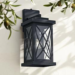 "Woodland Park 15""H Black Finish Dusk to Dawn Outdoor Light"