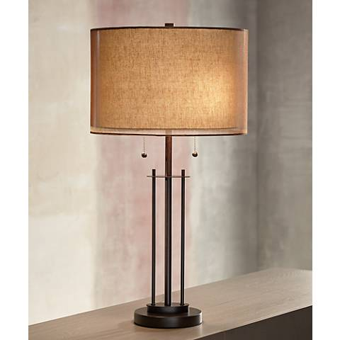 Franklin Iron Works Double Shade Bronze Table Lamp