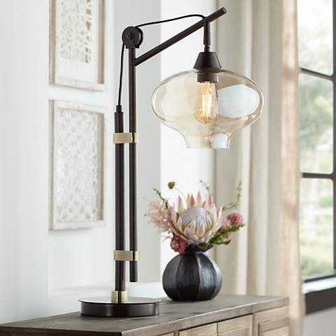 Calyx Cognac Glass Industrial Bronze Desk Lamp