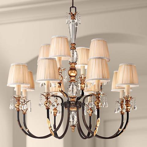 "Metropolitan Bella Cristallo 38 1/4"" Wide Bronze Chandelier"