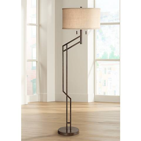 Possini Euro Tyler Angular Bronze Floor Lamp