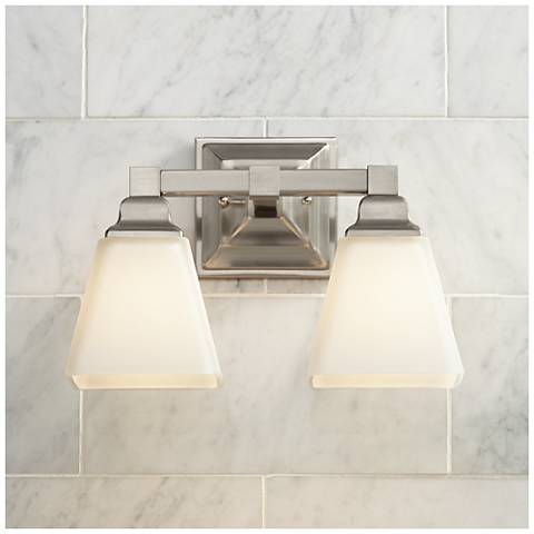 "Mencino 12 3/4"" Wide Satin Nickel and Opal Glass Bath Light"