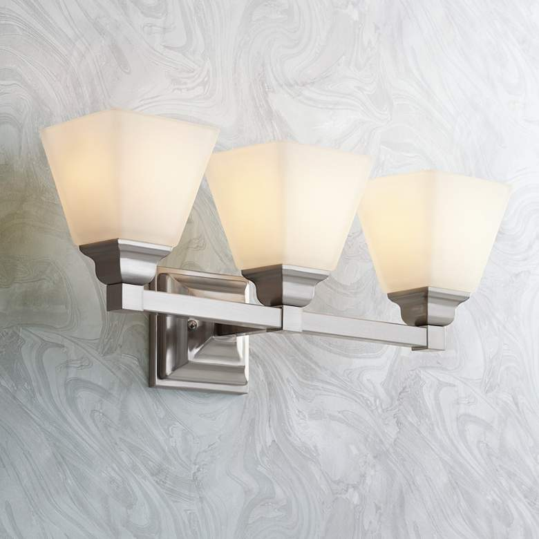 "Mencino-Opal 20"" Wide Satin Nickel and Opal Glass Bath Light"