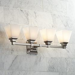 "Mencino-Opal 28"" Wide Satin Nickel and Opal Glass Bath Light"
