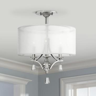 "Fredrick Ramond Mime 17 1/2"" Wide Nickel Ceiling Light"