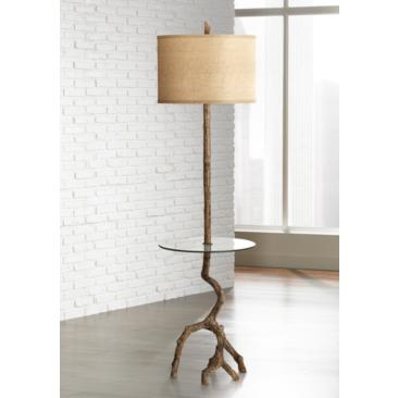 Beachwood Floor Lamp with Glass Tray Table