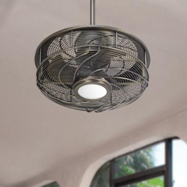 "17"" Casa Vestige™ Antique Bronze Cage LED Ceiling Fan"