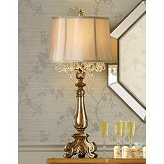 Buffet table lamps lamps plus dubois crystal spray console table lamp aloadofball Images