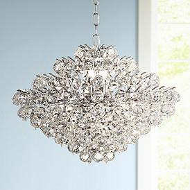 Essa 24 Wide Chrome Crystal Pendant Light
