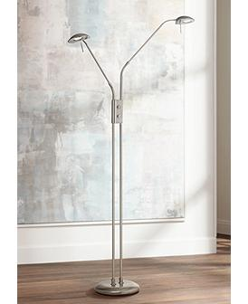 Casper Brushed Nickel 2 Light Led Pharmacy Floor Lamp