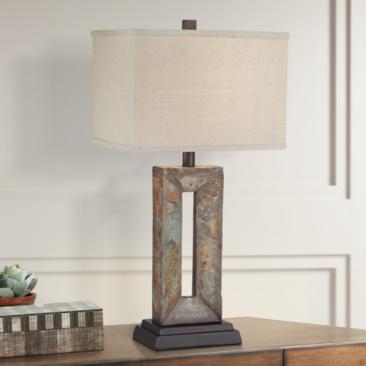 Tahoe Small Rectangular Slate Table Lamp