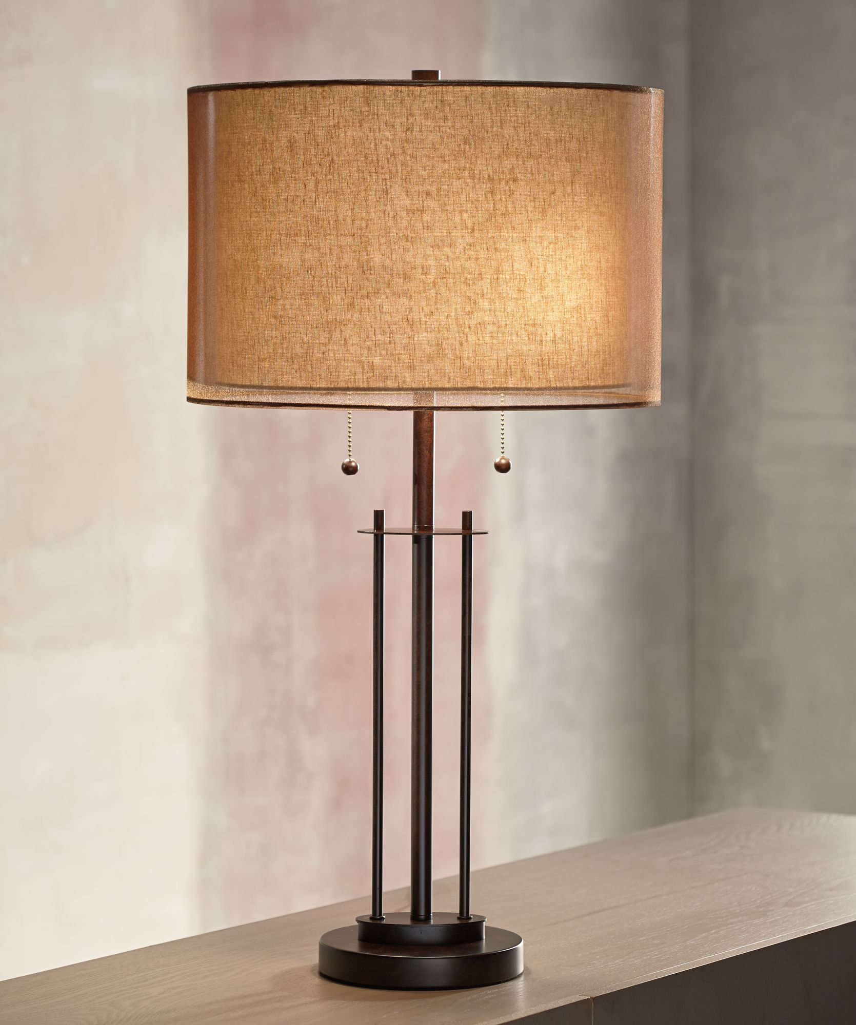 Delightful Franklin Iron Works Double Shade Bronze Table Lamp