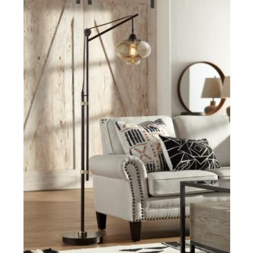 Calyx Cognac Glass Industrial Bronze Floor Lamp
