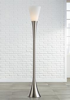 Contemporary floor lamps modern lamp designs lamps plus possini euro piazza brushed nickel torchiere floor lamp mozeypictures Images