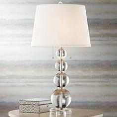 Glass table lamps lamps plus vienna full spectrum stacked crystal spheres table lamp aloadofball Gallery