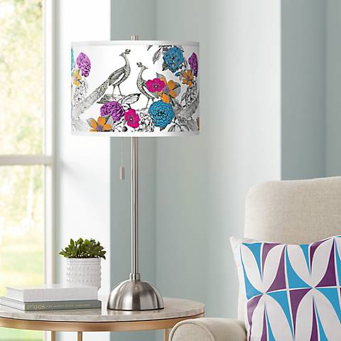 Peacocks in the Garden Giclee Brushed Steel Table Lamp