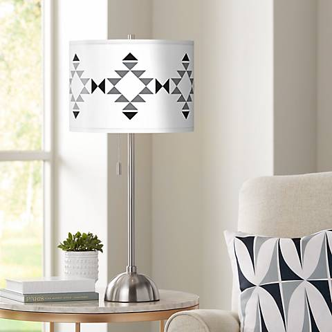 Desert Grayscale Giclee Brushed Steel Table Lamp