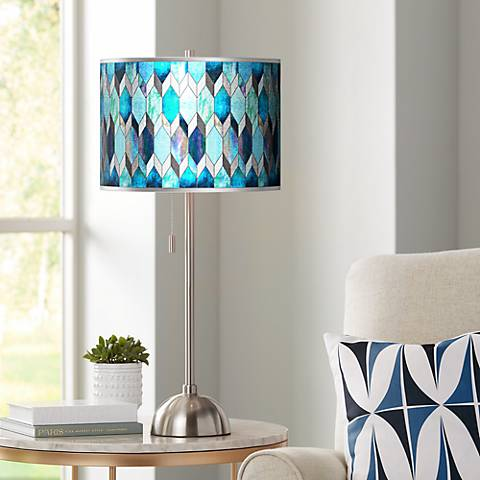 Blue Tiffany-Style Silver Metallic Brushed Steel Table Lamp