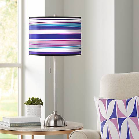 Purple Neon Giclee Shade Table Lamp