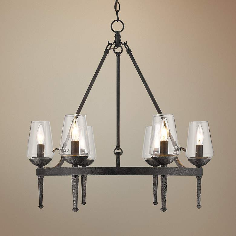 "Marcellis 26"" Wide Dark Natural Iron 6-Light Chandelier"