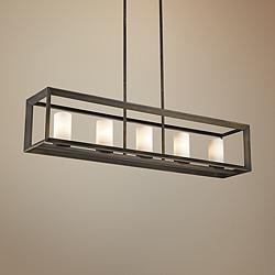 "Smyth 41"" Wide Gunmetal Bronze Kitchen Island Light Pendant"