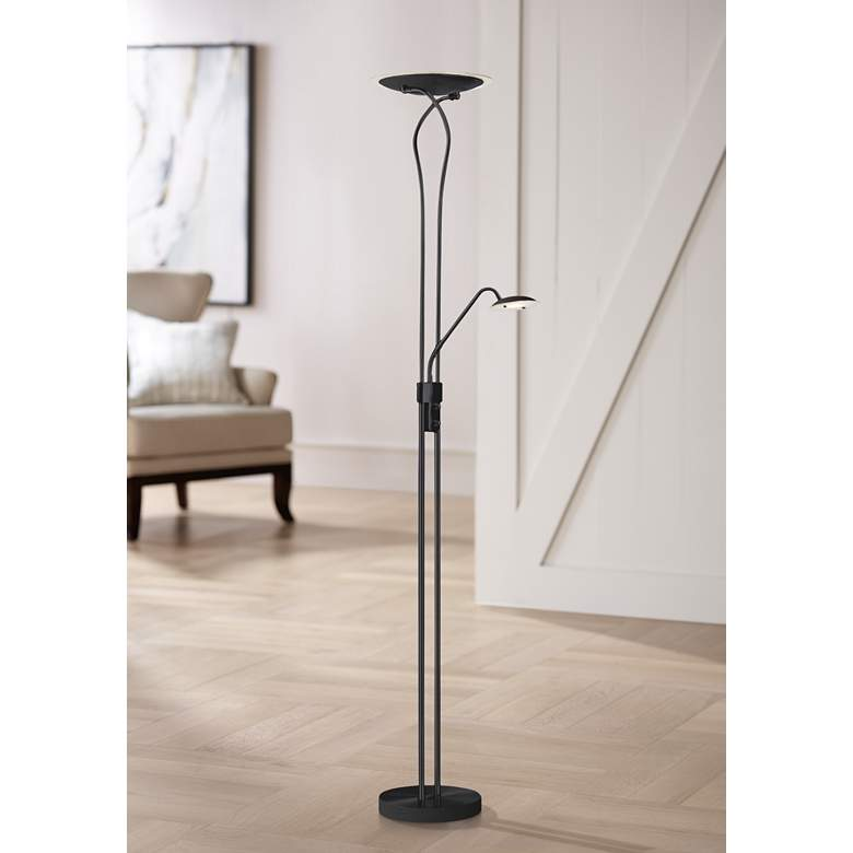 Mother and Son Matte Black Metal LED Torchiere Floor Lamp
