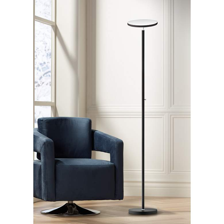 Jasmine Satin Black Metal LED Torchiere Floor Lamp