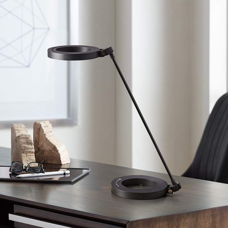 Dillon Matte Black Ring Modern LED Desk Lamp