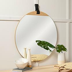 "Cooper Classics Heppner Natural Wood 30"" Round Wall Mirror"