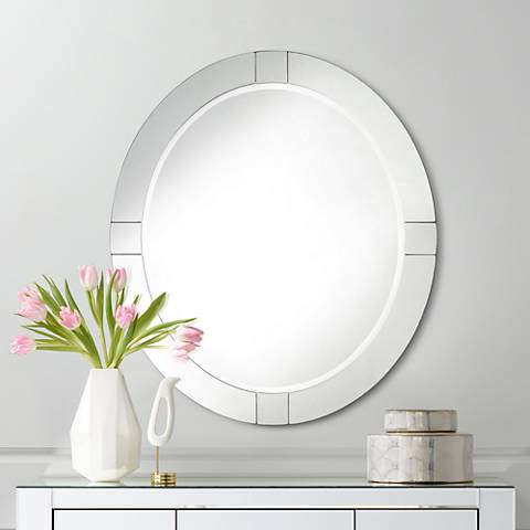"Mackenzie Frameless Sectioned 28"" x 32"" Oval Mirror"