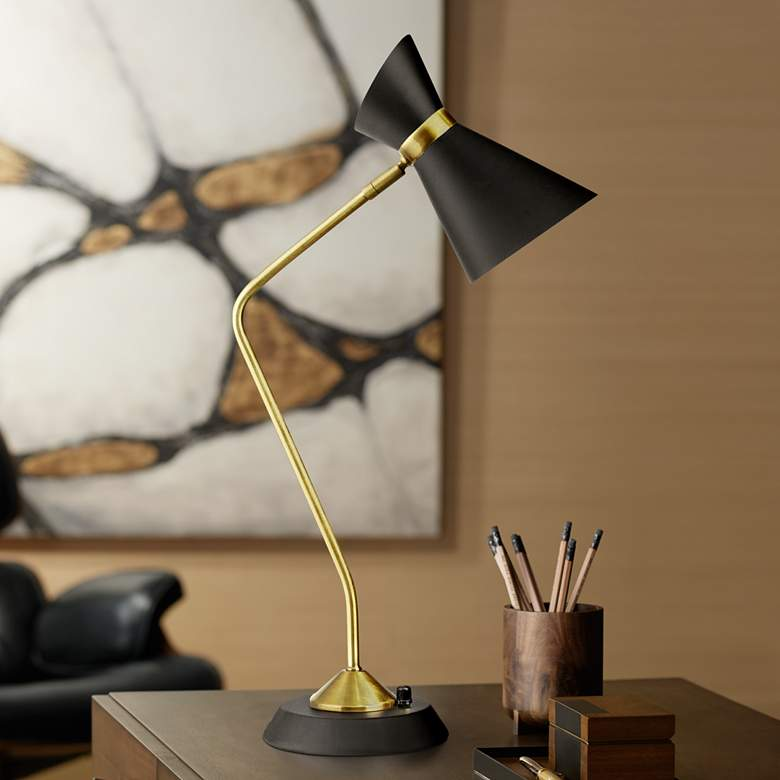 Emery Vintage Bronze and Matte Black Desk Lamp