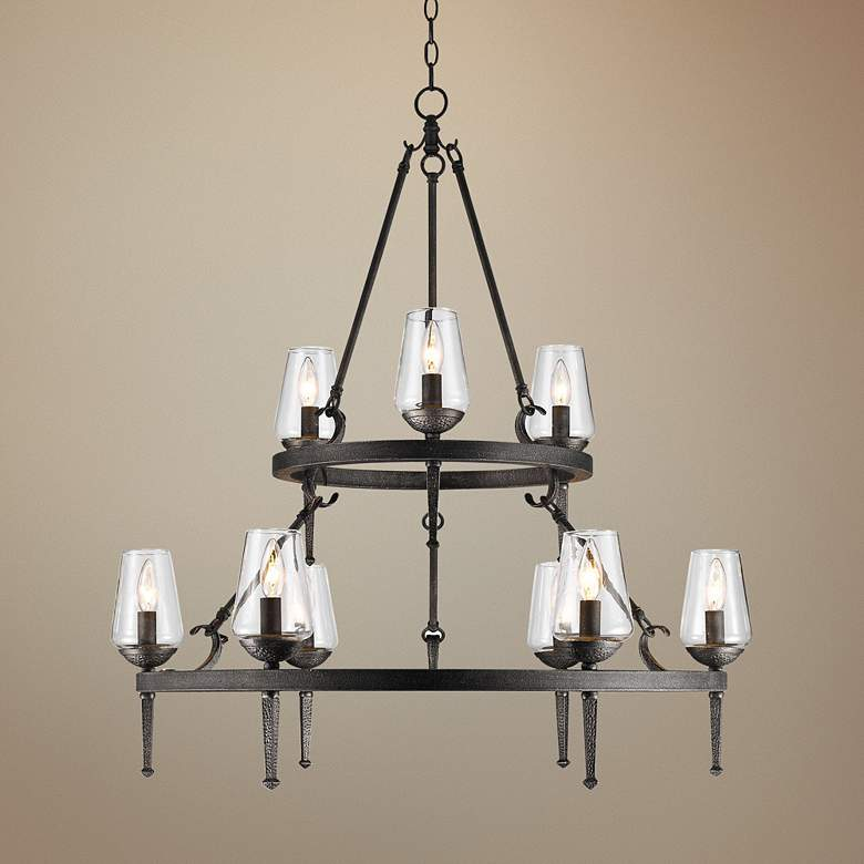"Marcellis 34""W Dark Natural Iron 2-Tier 9-Light Chandelier"