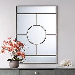 "Possini Euro Linda Silver 28"" x 40"" Deco Wall Mirror"
