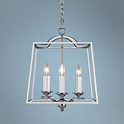 "Athena 14 1/2"" Wide Chrome 3-Light Open Cage Foyer Pendant"