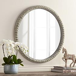 "Ariel White Wash 30"" Wood Round Wall Mirror"