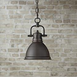 "Duncan 6 1/2"" Wide Rubbed Bronze Mini Pendant with Chain"